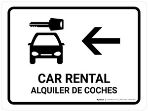 Car Rental With Left Arrow White Bilingual Landscape - Wall Sign