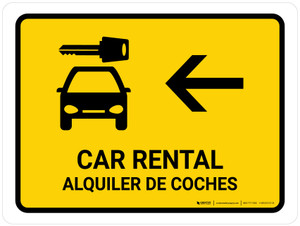 Car Rental With Left Arrow Yellow Bilingual Landscape - Wall Sign