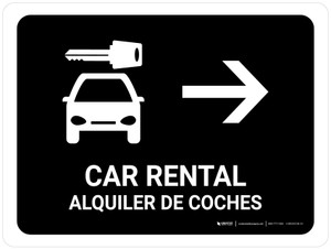 Car Rental With Right Arrow Black Bilingual Landscape - Wall Sign