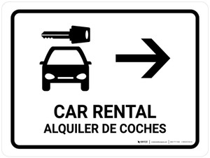 Car Rental With Right Arrow White Bilingual Landscape - Wall Sign