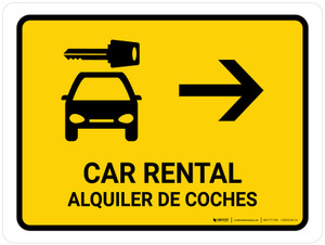 Car Rental With Right Arrow Yellow Bilingual Landscape - Wall Sign