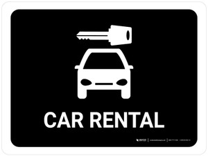 Car Rental Black Landscape - Wall Sign