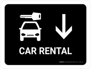 Car Rental With Down Arrow Black Landscape - Wall Sign