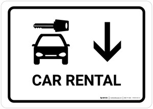 Car Rental With Down Arrow White Landscape - Wall Sign