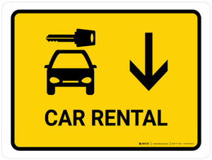Car Rental With Down Arrow Yellow Landscape - Wall Sign