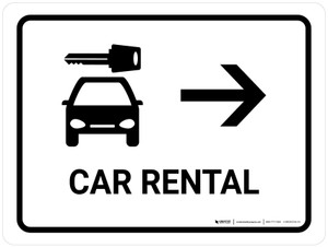 Car Rental With Right Arrow White Landscape - Wall Sign