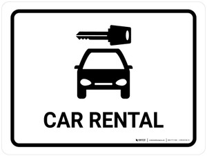 Car Rental White Landscape - Wall Sign