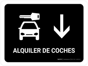 Car Rental With Down Arrow Black Spanish Landscape - Wall Sign