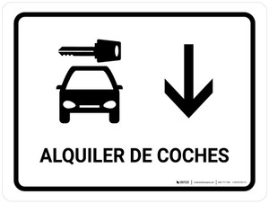 Car Rental With Down Arrow White Spanish Landscape - Wall Sign