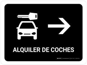 Car Rental With Right Arrow Black Spanish Landscape - Wall Sign
