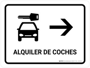 Car Rental With Right Arrow White Spanish Landscape - Wall Sign
