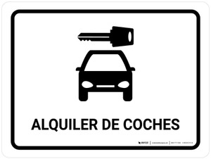 Car Rental White Spanish Landscape - Wall Sign