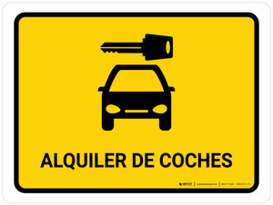 Car Rental Yellow Spanish Landscape - Wall Sign