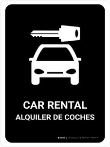 Car Rental Black Bilingual Portrait - Wall Sign