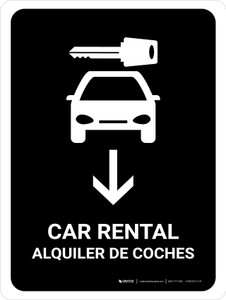 Car Rental With Down Arrow Black Bilingual Portrait - Wall Sign