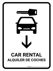 Car Rental With Down Arrow White Bilingual Portrait - Wall Sign