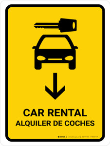 Car Rental With Down Arrow Yellow Bilingual Portrait - Wall Sign
