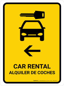 Car Rental With Left Arrow Yellow Bilingual Portrait - Wall Sign