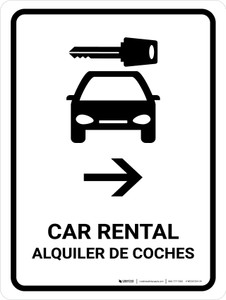 Car Rental With Right Arrow White Bilingual Portrait - Wall Sign