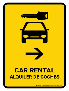Car Rental With Right Arrow Yellow Bilingual Portrait - Wall Sign