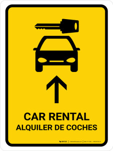 Car Rental With Up Arrow Yellow Bilingual Portrait - Wall Sign