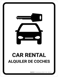 Car Rental White Bilingual Portrait - Wall Sign