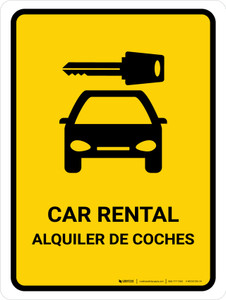Car Rental Yellow Bilingual Portrait - Wall Sign