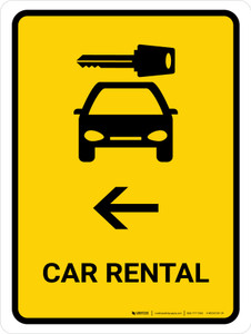 Car Rental With Left Arrow Yellow Portrait - Wall Sign