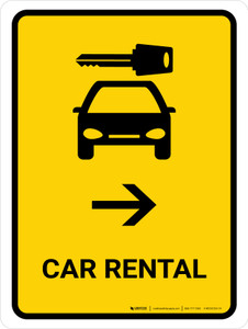 Car Rental With Right Arrow Yellow Portrait - Wall Sign