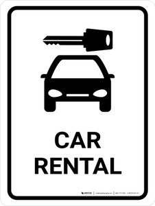 Car Rental White Portrait - Wall Sign
