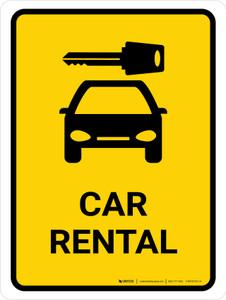 Car Rental Yellow Portrait - Wall Sign