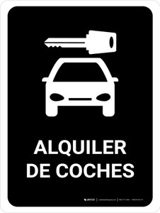 Car Rental Black Spanish Portrait - Wall Sign
