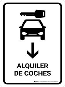 Car Rental With Down Arrow White Spanish Portrait - Wall Sign