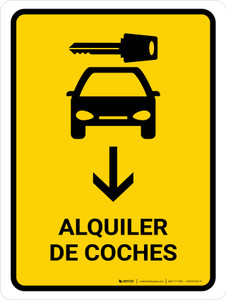 Car Rental With Down Arrow Yellow Spanish Portrait - Wall Sign