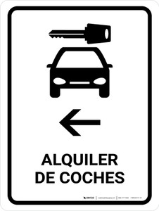Car Rental With Left Arrow White Spanish Portrait - Wall Sign