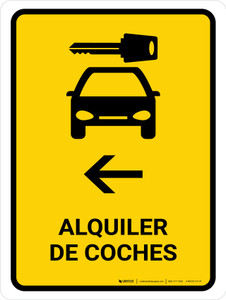 Car Rental With Left Arrow Yellow Spanish Portrait - Wall Sign