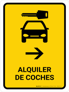 Car Rental With Right Arrow Yellow Spanish Portrait - Wall Sign