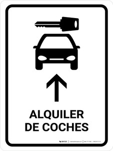 Car Rental With Up Arrow White Spanish Portrait - Wall Sign