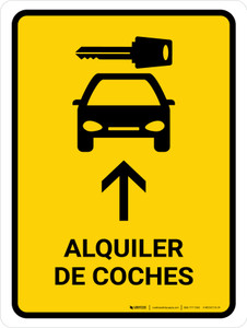 Car Rental With Up Arrow Yellow Spanish Portrait - Wall Sign