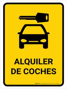 Car Rental Yellow Spanish Portrait - Wall Sign