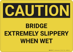 Caution: Bridge Extremely Slippery - Wall Sign