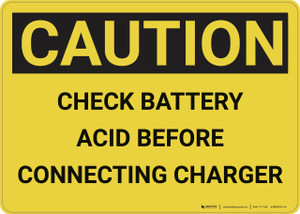 Caution: Check Battery Acid - Wall Sign