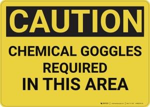 Caution: Chemical Goggles Required - Wall Sign