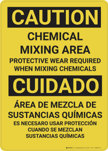 Caution: Chemical Mixing Area PPE Required - Wall Sign