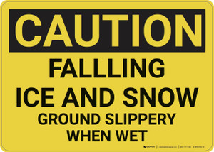 Caution: Falling Ice and Snow Ground Slippery - Wall Sign