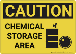 Caution: Hazard Chemical Storage Area - Wall Sign