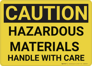 Caution: Hazardous Materials Handle With Care - Wall Sign