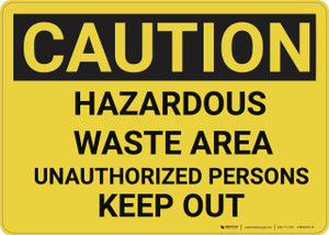 Caution: Hazardous Waste Area Keep Out - Wall Sign