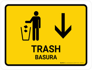 Trash With Down Arrow Yellow Bilingual Landscape - Wall Sign