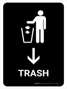 Trash With Down Arrow Black Portrait - Wall Sign